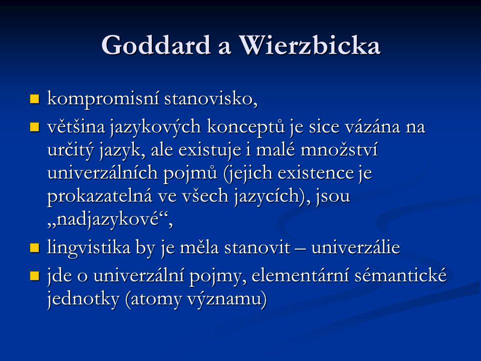 """Goddard a Wierzbicka kompromisní stanovisko, kompromisní stanovisko, většina jazykových konceptů je sice vázána na určitý jazyk, ale existuje i malé množství univerzálních pojmů (jejich existence je prokazatelná ve všech jazycích), jsou """"nadjazykové , většina jazykových konceptů je sice vázána na určitý jazyk, ale existuje i malé množství univerzálních pojmů (jejich existence je prokazatelná ve všech jazycích), jsou """"nadjazykové , lingvistika by je měla stanovit – univerzálie lingvistika by je měla stanovit – univerzálie jde o univerzální pojmy, elementární sémantické jednotky (atomy významu) jde o univerzální pojmy, elementární sémantické jednotky (atomy významu)"""