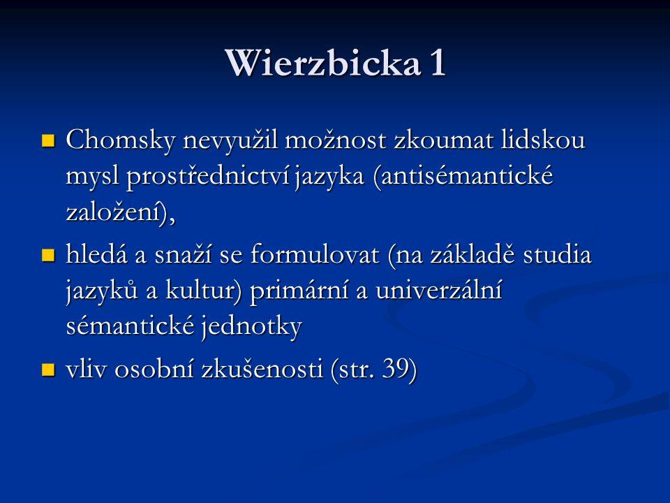 Wierzbicka 1 Chomsky nevyužil možnost zkoumat lidskou mysl prostřednictví jazyka (antisémantické založení), Chomsky nevyužil možnost zkoumat lidskou mysl prostřednictví jazyka (antisémantické založení), hledá a snaží se formulovat (na základě studia jazyků a kultur) primární a univerzální sémantické jednotky hledá a snaží se formulovat (na základě studia jazyků a kultur) primární a univerzální sémantické jednotky vliv osobní zkušenosti (str.