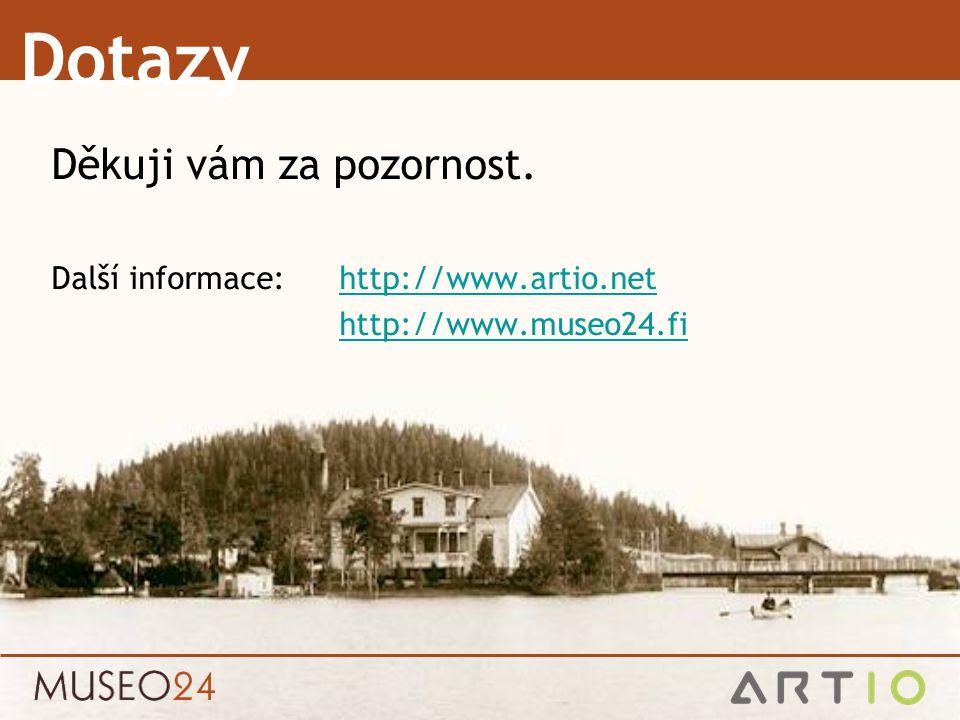 Dotazy Děkuji vám za pozornost. Další informace: http://www.artio.nethttp://www.artio.net http://www.museo24.fi