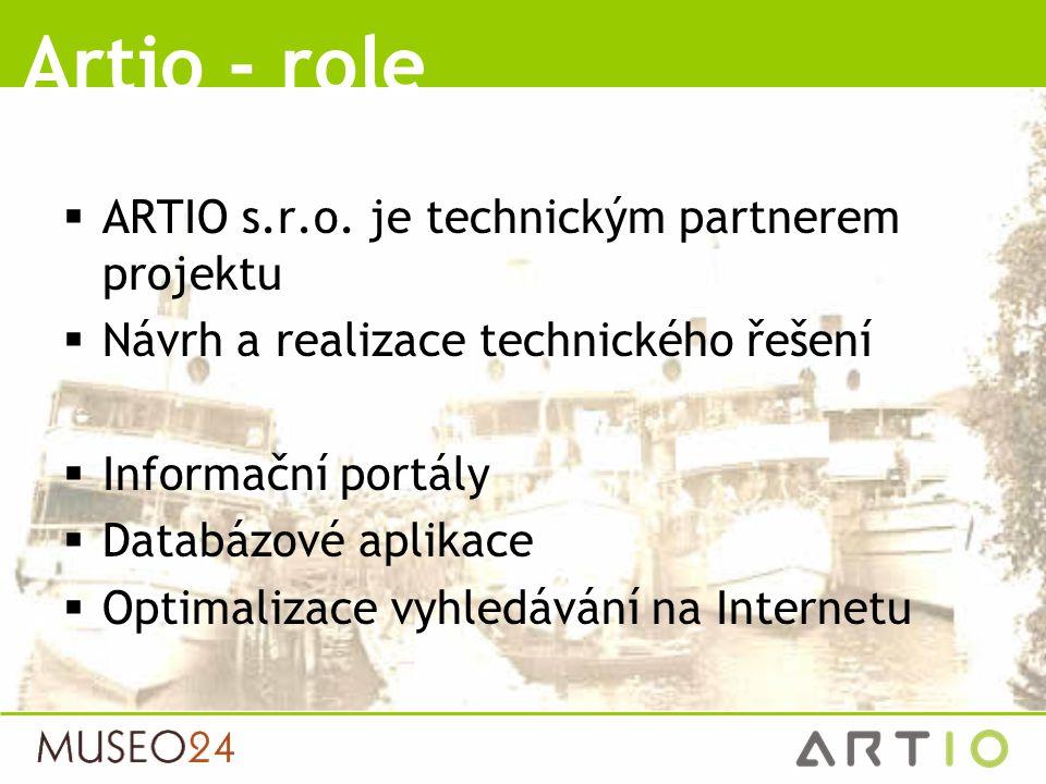  ARTIO s.r.o. je technickým partnerem projektu  Návrh a realizace technického řešení  Informační portály  Databázové aplikace  Optimalizace vyhle