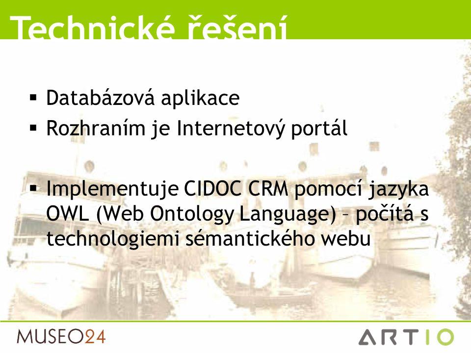  Databázová aplikace  Rozhraním je Internetový portál  Implementuje CIDOC CRM pomocí jazyka OWL (Web Ontology Language) – počítá s technologiemi sé
