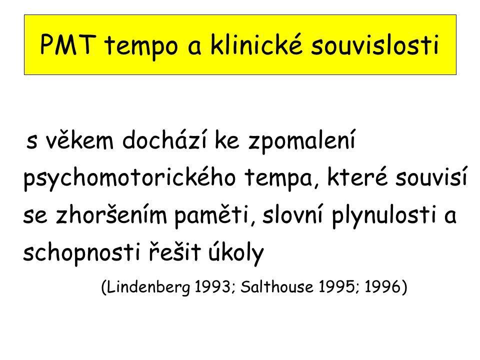 PMT tempo a klinické souvislosti s věkem dochází ke zpomalení psychomotorického tempa, které souvisí se zhoršením paměti, slovní plynulosti a schopnosti řešit úkoly (Lindenberg 1993; Salthouse 1995; 1996)