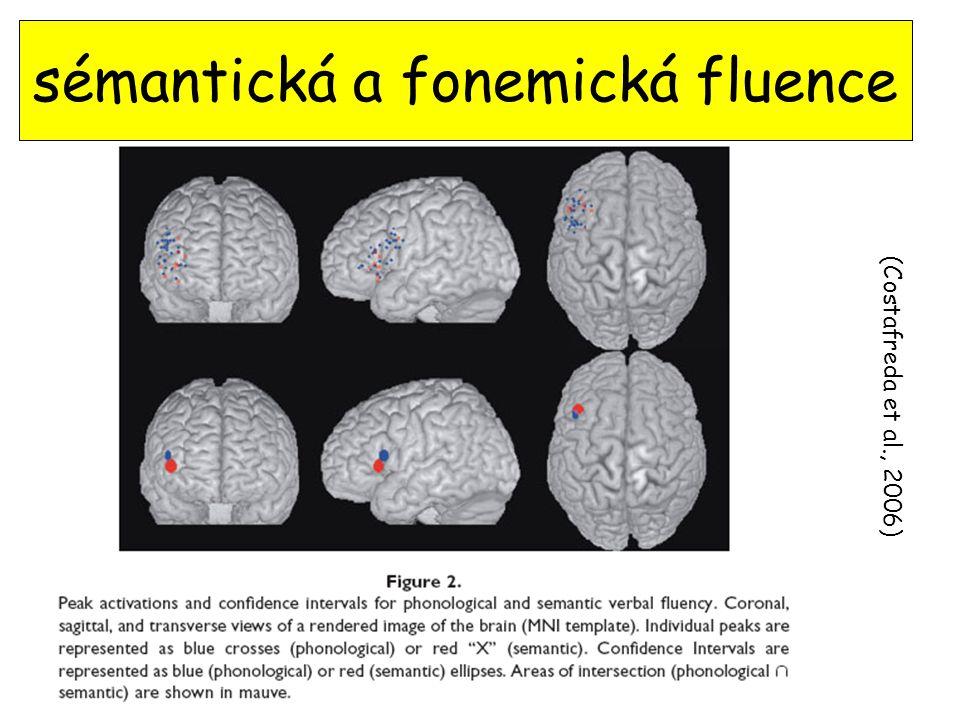 (Costafreda et al., 2006) sémantická a fonemická fluence