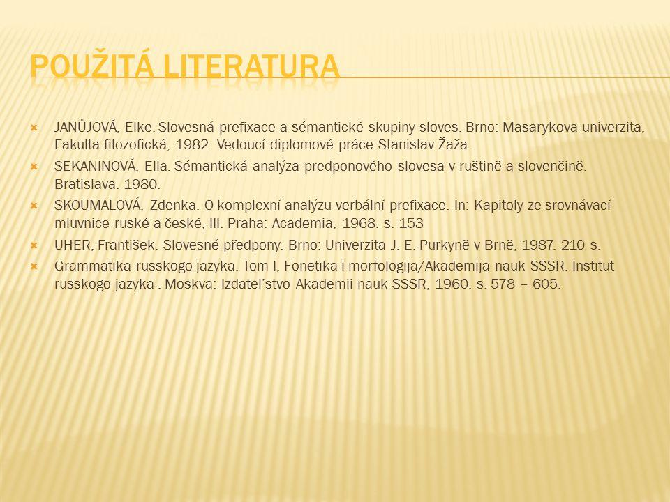  JANŮJOVÁ, Elke. Slovesná prefixace a sémantické skupiny sloves. Brno: Masarykova univerzita, Fakulta filozofická, 1982. Vedoucí diplomové práce Stan