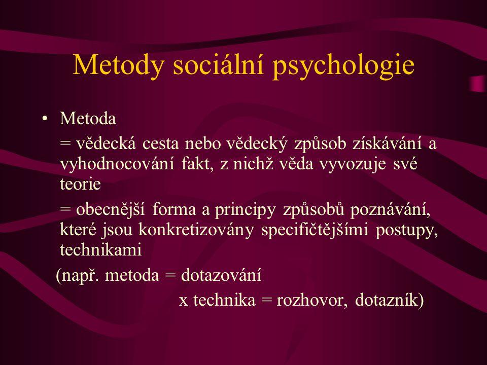 Metody sociální psychologie Metoda = vědecká cesta nebo vědecký způsob získávání a vyhodnocování fakt, z nichž věda vyvozuje své teorie = obecnější forma a principy způsobů poznávání, které jsou konkretizovány specifičtějšími postupy, technikami (např.