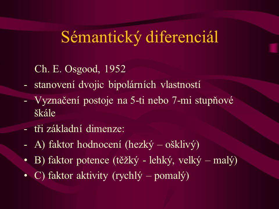 Sémantický diferenciál Ch. E. Osgood, 1952 -stanovení dvojic bipolárních vlastností -Vyznačení postoje na 5-ti nebo 7-mi stupňové škále -tři základní