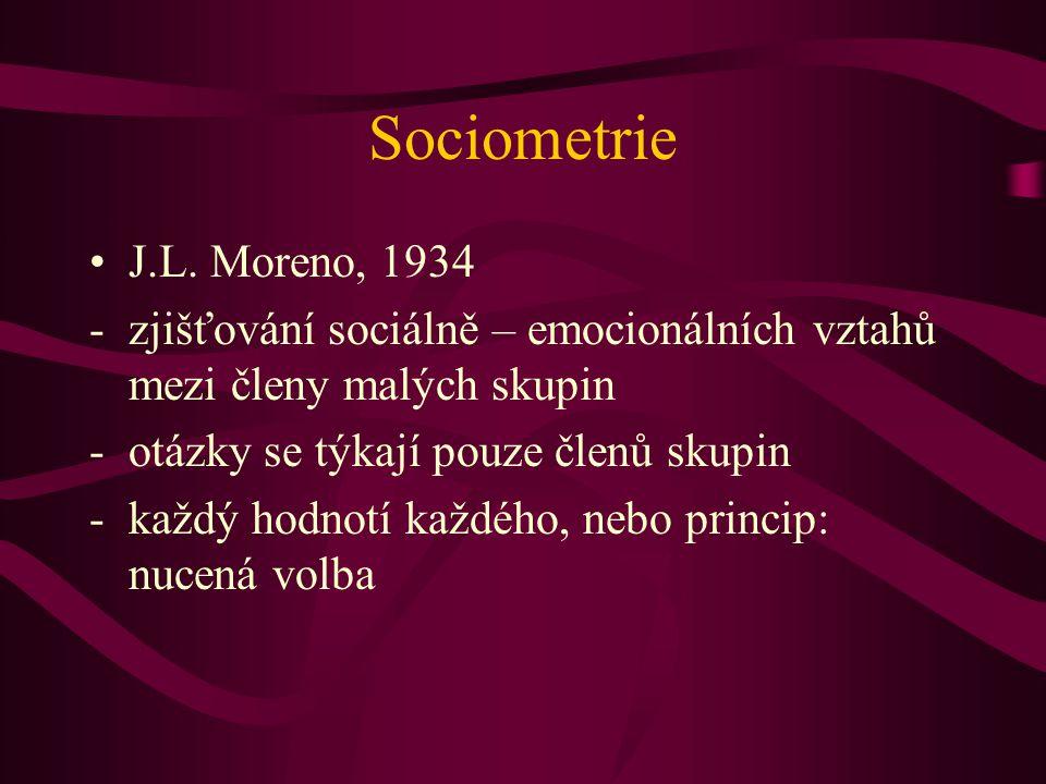 Sociometrie J.L. Moreno, 1934 -zjišťování sociálně – emocionálních vztahů mezi členy malých skupin -otázky se týkají pouze členů skupin -každý hodnotí