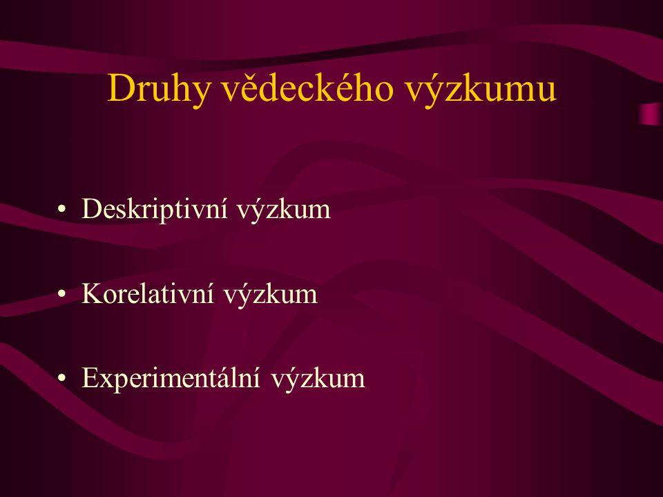 Druhy vědeckého výzkumu Deskriptivní výzkum Korelativní výzkum Experimentální výzkum