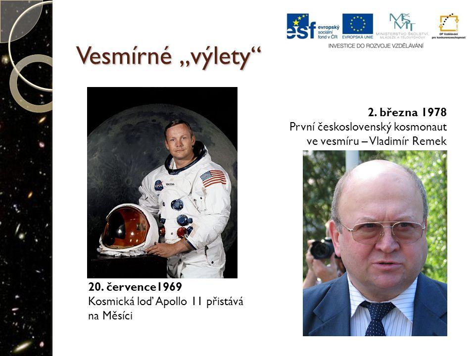 """Vesmírné """"výlety"""" 20. července1969 Kosmická loď Apollo 11 přistává na Měsíci 2. března 1978 První československý kosmonaut ve vesmíru – Vladimír Remek"""