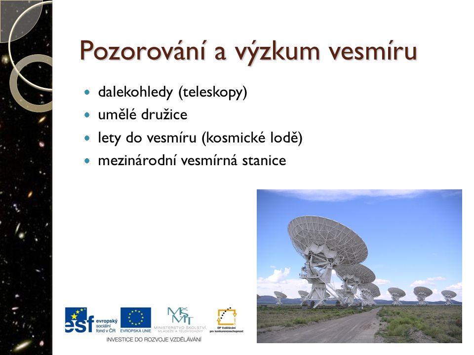 Pozorování a výzkum vesmíru dalekohledy (teleskopy) umělé družice lety do vesmíru (kosmické lodě) mezinárodní vesmírná stanice