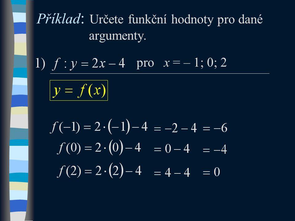 Příklad : Určete funkční hodnoty pro dané argumenty. pro x = – 1; 0; 2