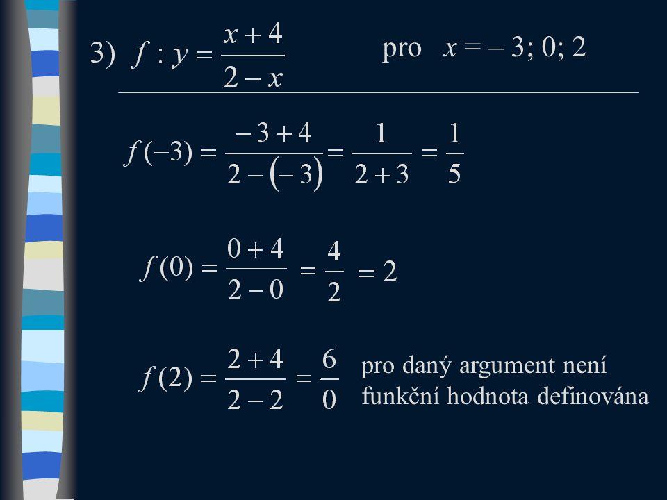 pro x = – 3; 0; 2 pro daný argument není funkční hodnota definována