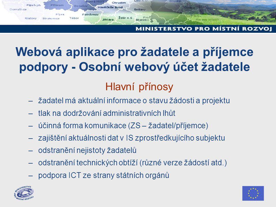 Webová aplikace pro žadatele a příjemce podpory - Osobní webový účet žadatele Hlavní přínosy –žadatel má aktuální informace o stavu žádosti a projektu