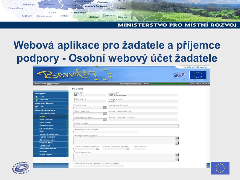 Webová aplikace pro žadatele a příjemce podpory - Osobní webový účet žadatele