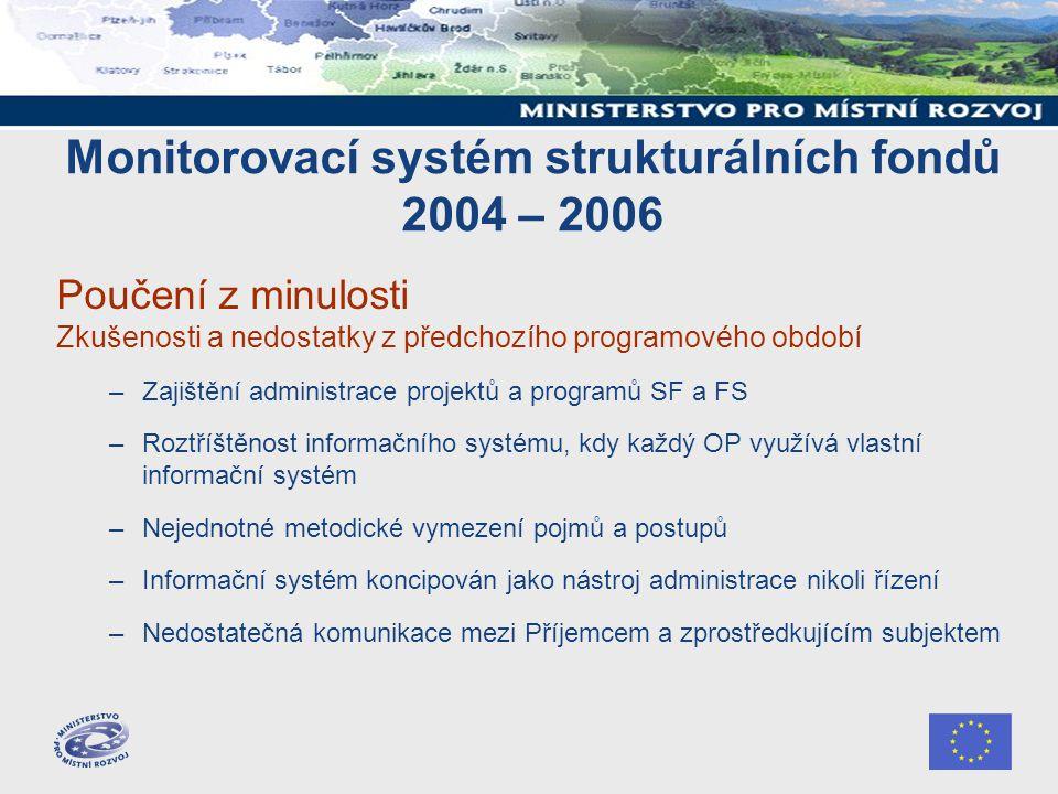 Monitorovací systém strukturálních fondů 2004 – 2006 Poučení z minulosti Zkušenosti a nedostatky z předchozího programového období –Zajištění administ