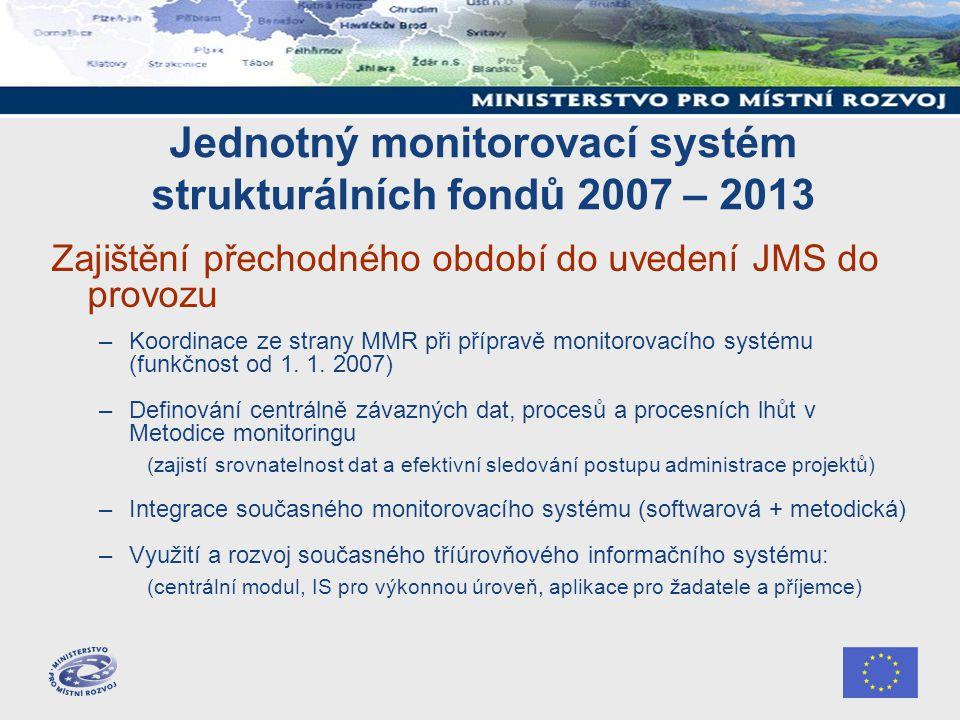 Jednotný monitorovací systém strukturálních fondů 2007 – 2013 Zajištění přechodného období do uvedení JMS do provozu –Koordinace ze strany MMR při pří