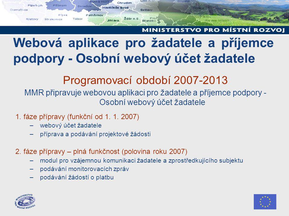Webová aplikace pro žadatele a příjemce podpory - Osobní webový účet žadatele Programovací období 2007-2013 MMR připravuje webovou aplikaci pro žadate