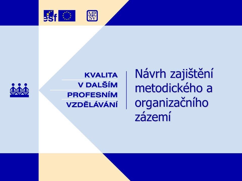 Návrh zajištění metodického a organizačního zázemí Návrh zajištění metodického a organizačního zázemí