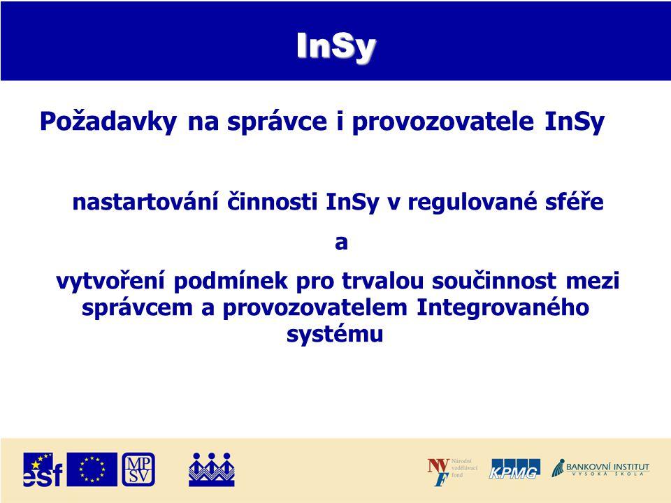 InSy Požadavky na správce i provozovatele InSy nastartování činnosti InSy v regulované sféře a vytvoření podmínek pro trvalou součinnost mezi správcem a provozovatelem Integrovaného systému