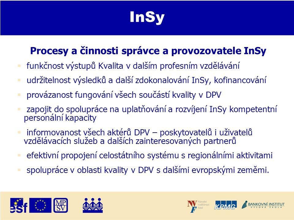 InSy Procesy a činnosti správce a provozovatele InSy  funkčnost výstupů Kvalita v dalším profesním vzdělávání  udržitelnost výsledků a další zdokonalování InSy, kofinancování  provázanost fungování všech součástí kvality v DPV  zapojit do spolupráce na uplatňování a rozvíjení InSy kompetentní personální kapacity  informovanost všech aktérů DPV – poskytovatelů i uživatelů vzdělávacích služeb a dalších zainteresovaných partnerů  efektivní propojení celostátního systému s regionálními aktivitami  spolupráce v oblasti kvality v DPV s dalšími evropskými zeměmi.