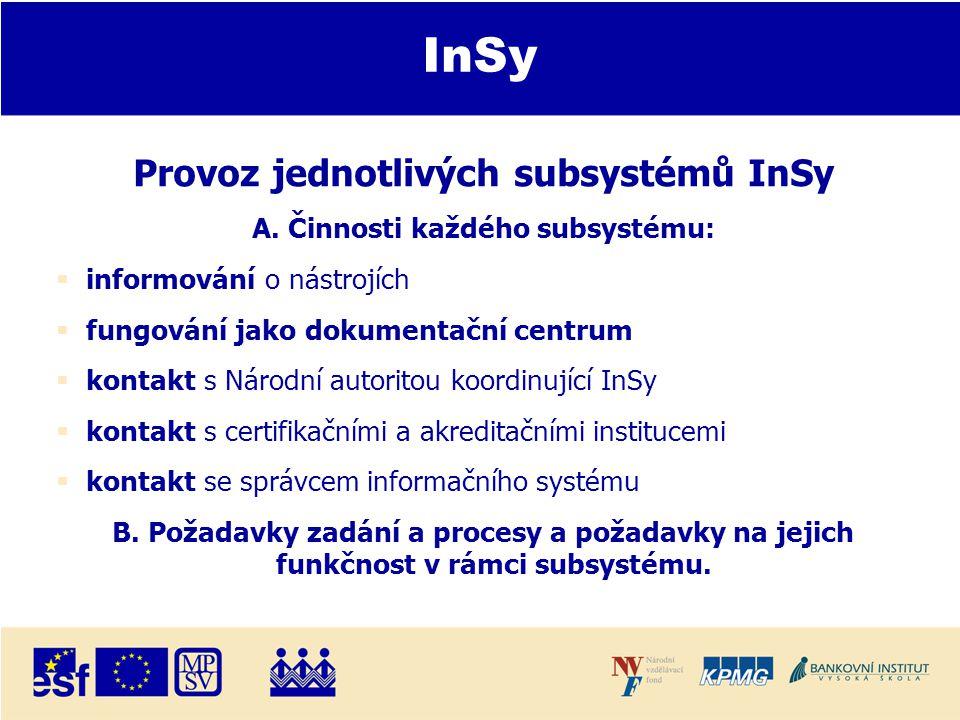 InSy Provoz jednotlivých subsystémů InSy A.