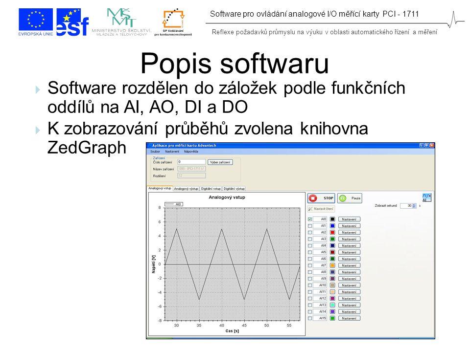 Reflexe požadavků průmyslu na výuku v oblasti automatického řízení a měření Software pro ovládání analogové I/O měřící karty PCI - 1711 Popis softwaru  Software rozdělen do záložek podle funkčních oddílů na AI, AO, DI a DO  K zobrazování průběhů zvolena knihovna ZedGraph