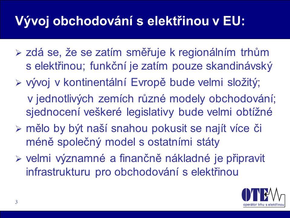 3 Vývoj obchodování s elektřinou v EU:  zdá se, že se zatím směřuje k regionálním trhům s elektřinou; funkční je zatím pouze skandinávský  vývoj v k