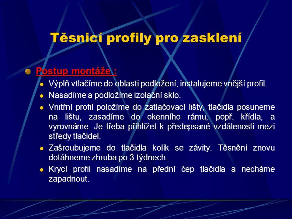 Těsnicí profily pro zasklení Jazýčková těsnění instalovaná bez tlaku nezaručují trvale při vyšším zatížení dostatečnou těsnost.