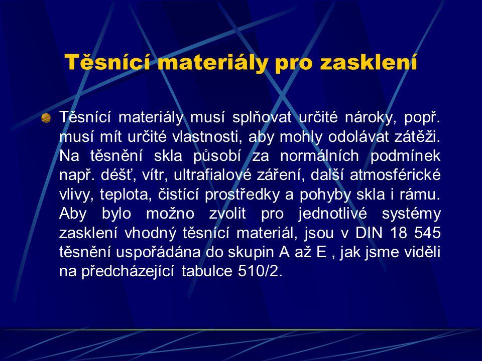 Těsnící materiály pro zasklení Elastické těsnicí a upevňovací materiály : Těsnění vyrobená na bázi silikonu, polysulfidu, polyuretanu, akrylu, MS-polymeru a polyizobutylenu jsou po instalaci elastická.