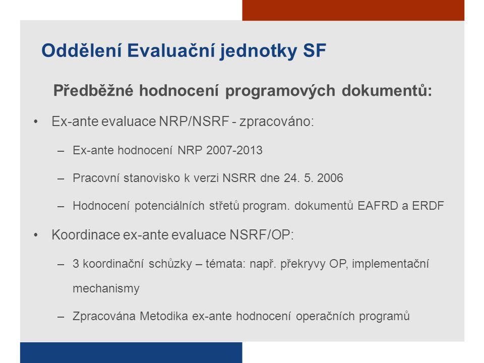 Oddělení Evaluační jednotky SF Předběžné hodnocení programových dokumentů: Ex-ante evaluace NRP/NSRF - zpracováno: –Ex-ante hodnocení NRP 2007-2013 –Pracovní stanovisko k verzi NSRR dne 24.