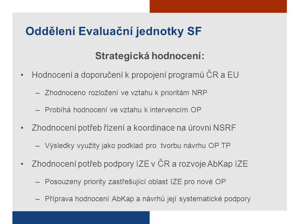Oddělení Evaluační jednotky SF Strategická hodnocení: Hodnocení a doporučení k propojení programů ČR a EU –Zhodnoceno rozložení ve vztahu k prioritám NRP –Probíhá hodnocení ve vztahu k intervencím OP Zhodnocení potřeb řízení a koordinace na úrovni NSRF –Výsledky využity jako podklad pro tvorbu návrhu OP TP Zhodnocení potřeb podpory IZE v ČR a rozvoje AbKap IZE –Posouzeny priority zastřešující oblast IZE pro nové OP –Příprava hodnocení AbKap a návrhů její systematické podpory