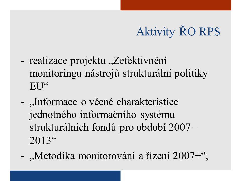 """Aktivity ŘO RPS -realizace projektu """"Zefektivnění monitoringu nástrojů strukturální politiky EU -""""Informace o věcné charakteristice jednotného informačního systému strukturálních fondů pro období 2007 – 2013 -""""Metodika monitorování a řízení 2007+ ,"""