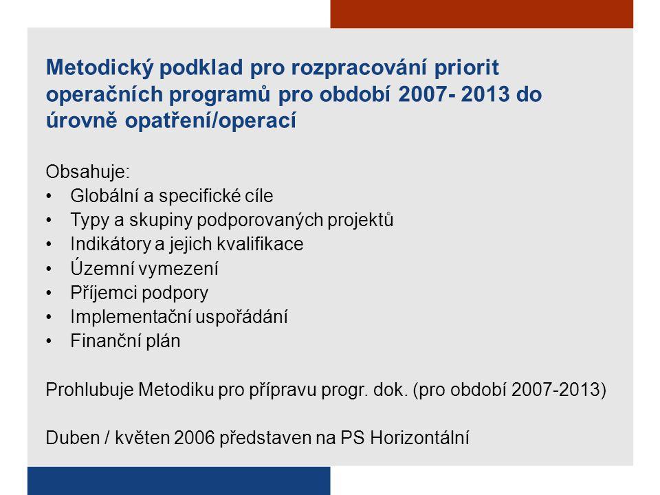 Metodický podklad pro rozpracování priorit operačních programů pro období 2007- 2013 do úrovně opatření/operací Obsahuje: Globální a specifické cíle T