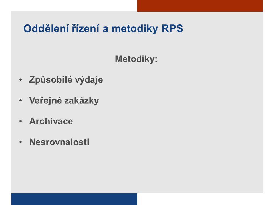 Oddělení řízení a metodiky RPS Metodiky: Způsobilé výdaje Veřejné zakázky Archivace Nesrovnalosti