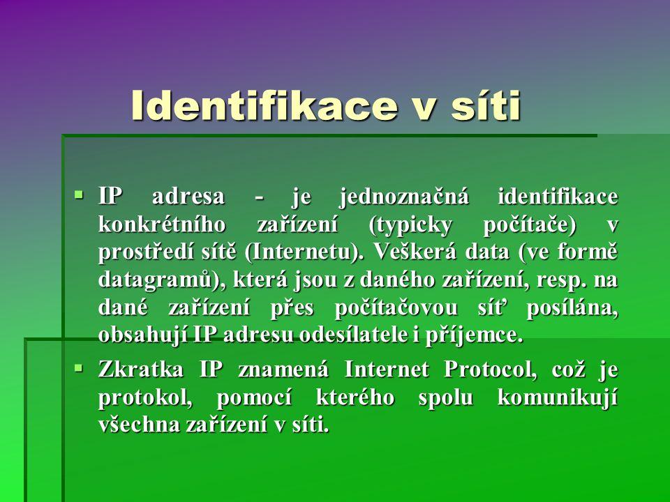 Identifikace v síti  IP adresa - je jednoznačná identifikace konkrétního zařízení (typicky počítače) v prostředí sítě (Internetu). Veškerá data (ve f