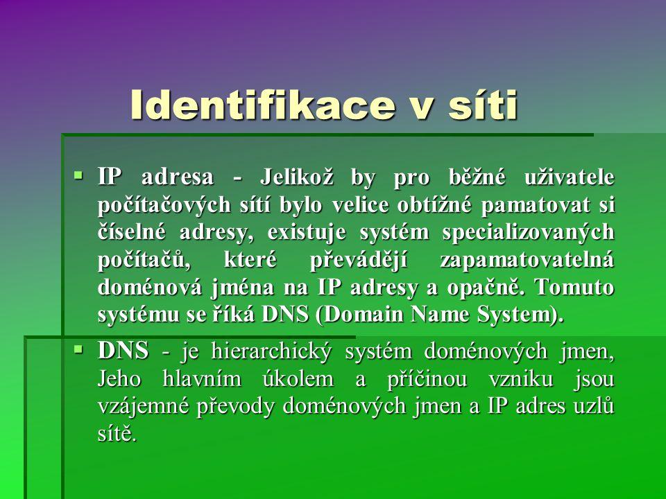 Identifikace v síti  IP adresa - Jelikož by pro běžné uživatele počítačových sítí bylo velice obtížné pamatovat si číselné adresy, existuje systém specializovaných počítačů, které převádějí zapamatovatelná doménová jména na IP adresy a opačně.