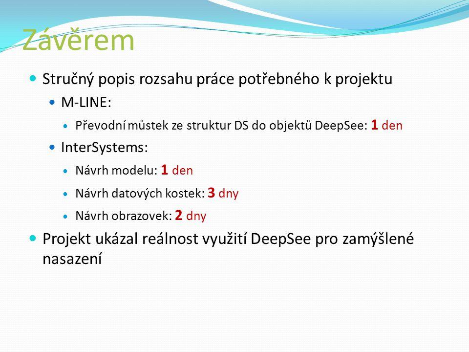 Závěrem Stručný popis rozsahu práce potřebného k projektu M-LINE: Převodní můstek ze struktur DS do objektů DeepSee: 1 den InterSystems: Návrh modelu: 1 den Návrh datových kostek: 3 dny Návrh obrazovek: 2 dny Projekt ukázal reálnost využití DeepSee pro zamýšlené nasazení