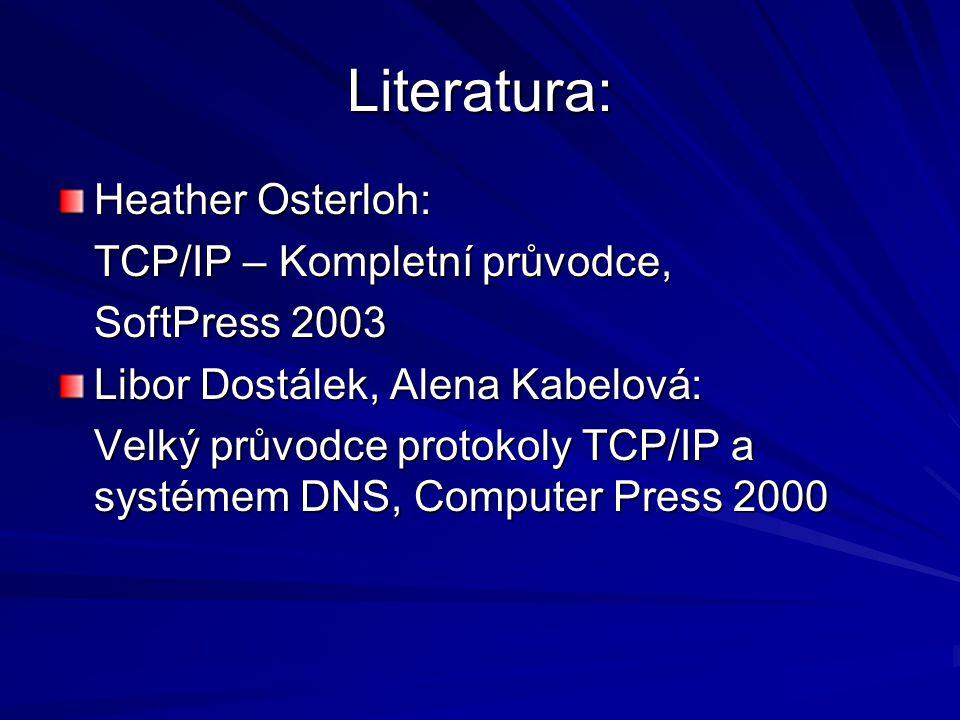 Literatura: Heather Osterloh: TCP/IP – Kompletní průvodce, SoftPress 2003 Libor Dostálek, Alena Kabelová: Velký průvodce protokoly TCP/IP a systémem DNS, Computer Press 2000