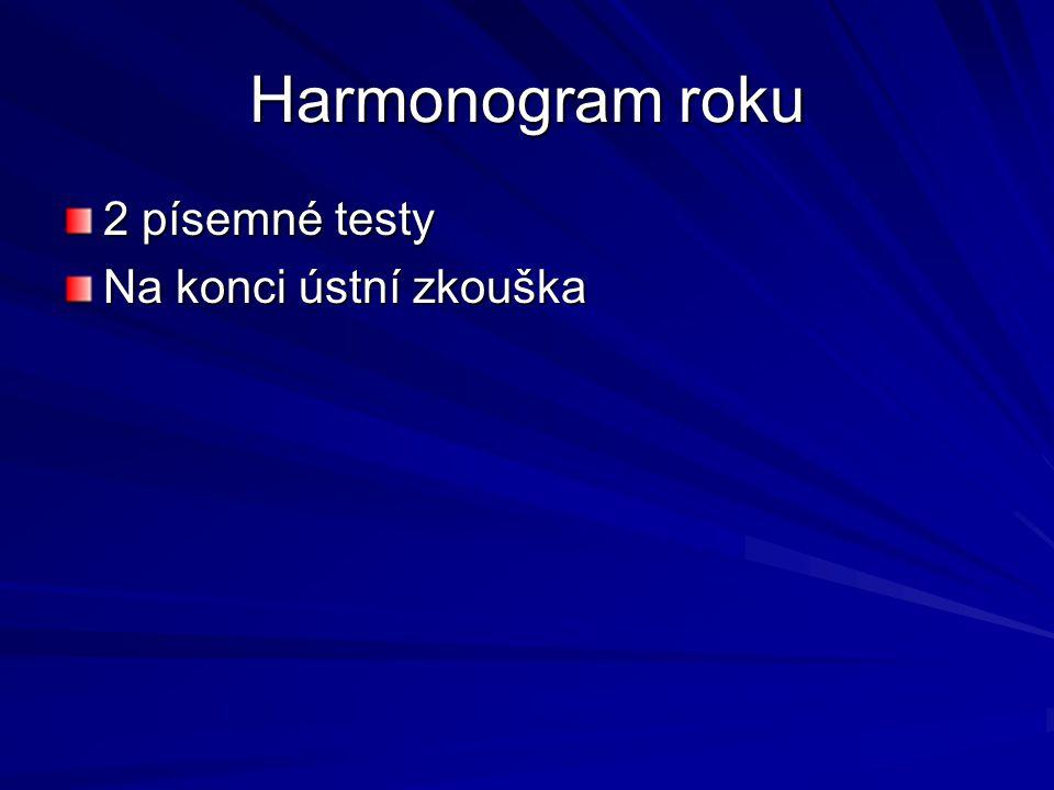 Harmonogram roku 2 písemné testy Na konci ústní zkouška