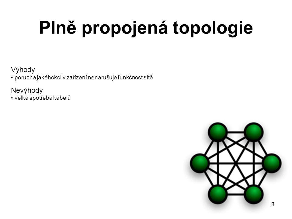 8 Plně propojená topologie Výhody porucha jakéhokoliv zařízení nenarušuje funkčnost sítě Nevýhody velká spotřeba kabelů