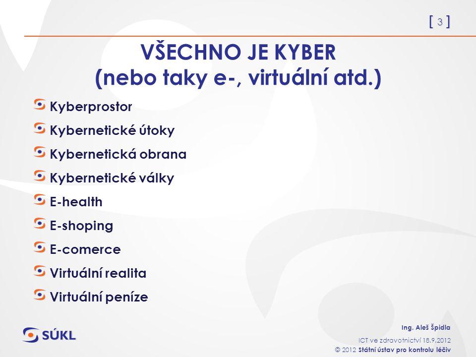 [ 3 ] Ing. Aleš Špidla ICT ve zdravotnictví 18.9.2012 © 2012 Státní ústav pro kontrolu léčiv VŠECHNO JE KYBER (nebo taky e-, virtuální atd.) Kyberpros