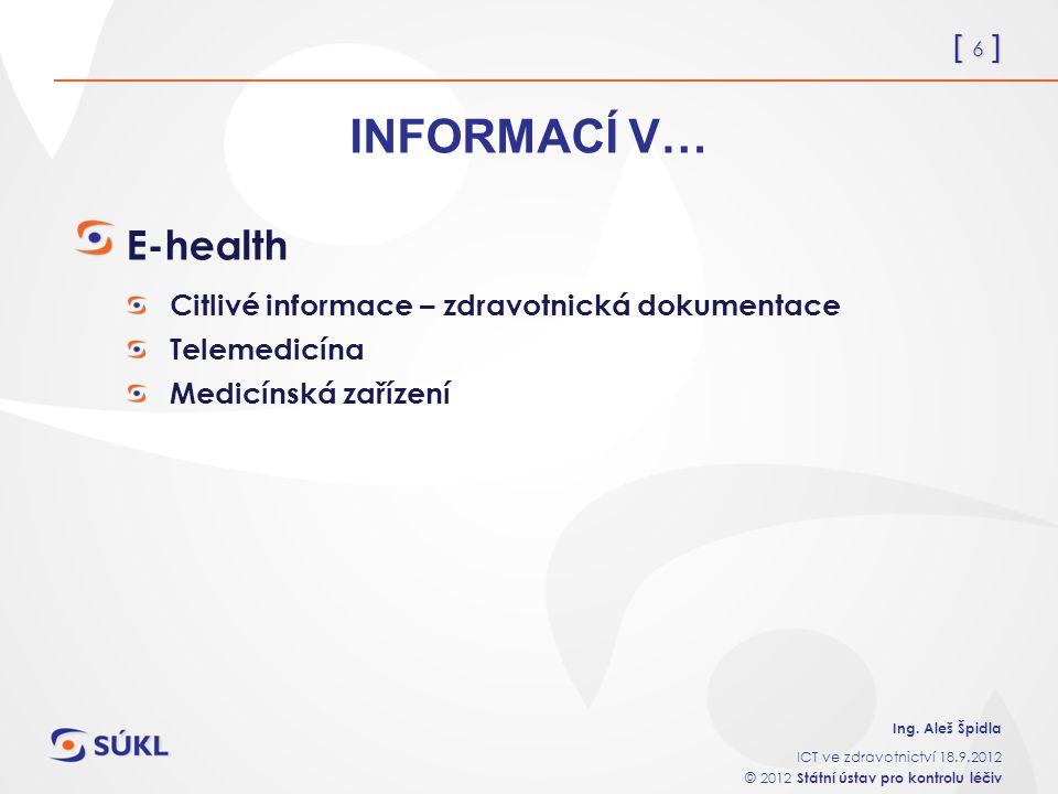 [ 6 ] Ing. Aleš Špidla ICT ve zdravotnictví 18.9.2012 © 2012 Státní ústav pro kontrolu léčiv INFORMACÍ V… E-health Citlivé informace – zdravotnická do