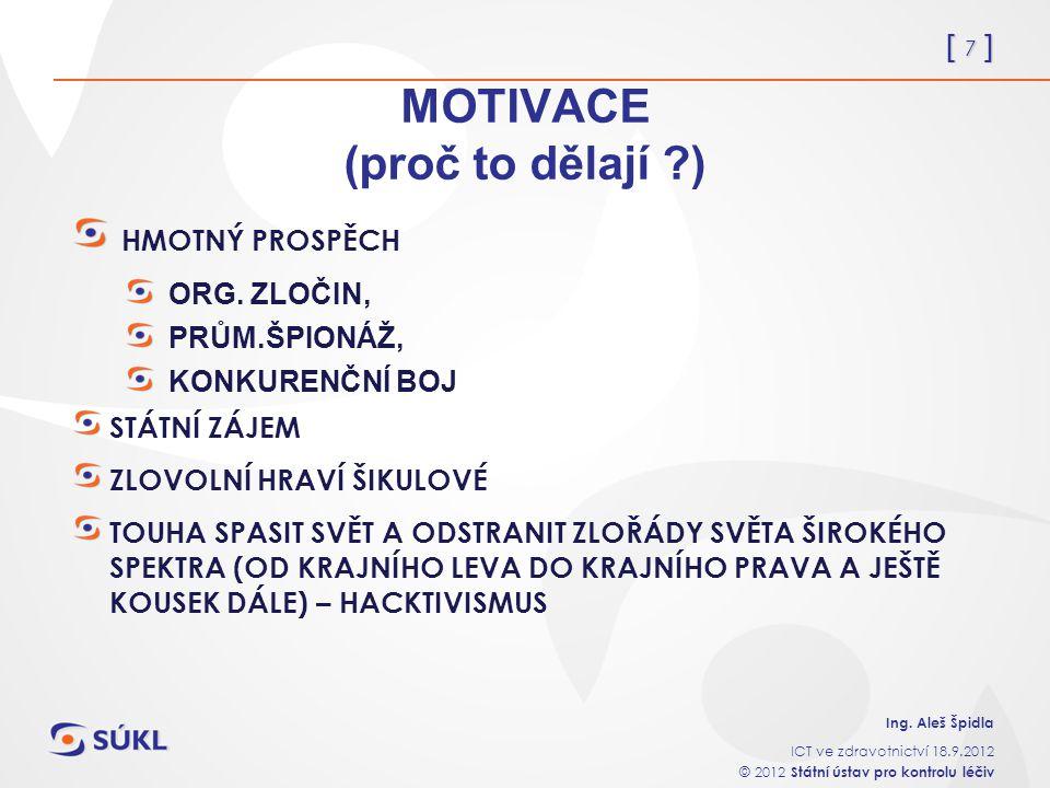 [ 7 ] Ing. Aleš Špidla ICT ve zdravotnictví 18.9.2012 © 2012 Státní ústav pro kontrolu léčiv MOTIVACE (proč to dělají ?) HMOTNÝ PROSPĚCH ORG. ZLOČIN,
