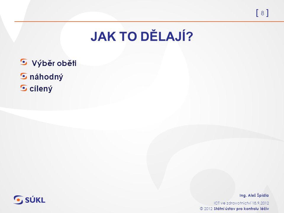 [ 8 ] Ing. Aleš Špidla ICT ve zdravotnictví 18.9.2012 © 2012 Státní ústav pro kontrolu léčiv JAK TO DĚLAJÍ? Výběr oběti náhodný cílený