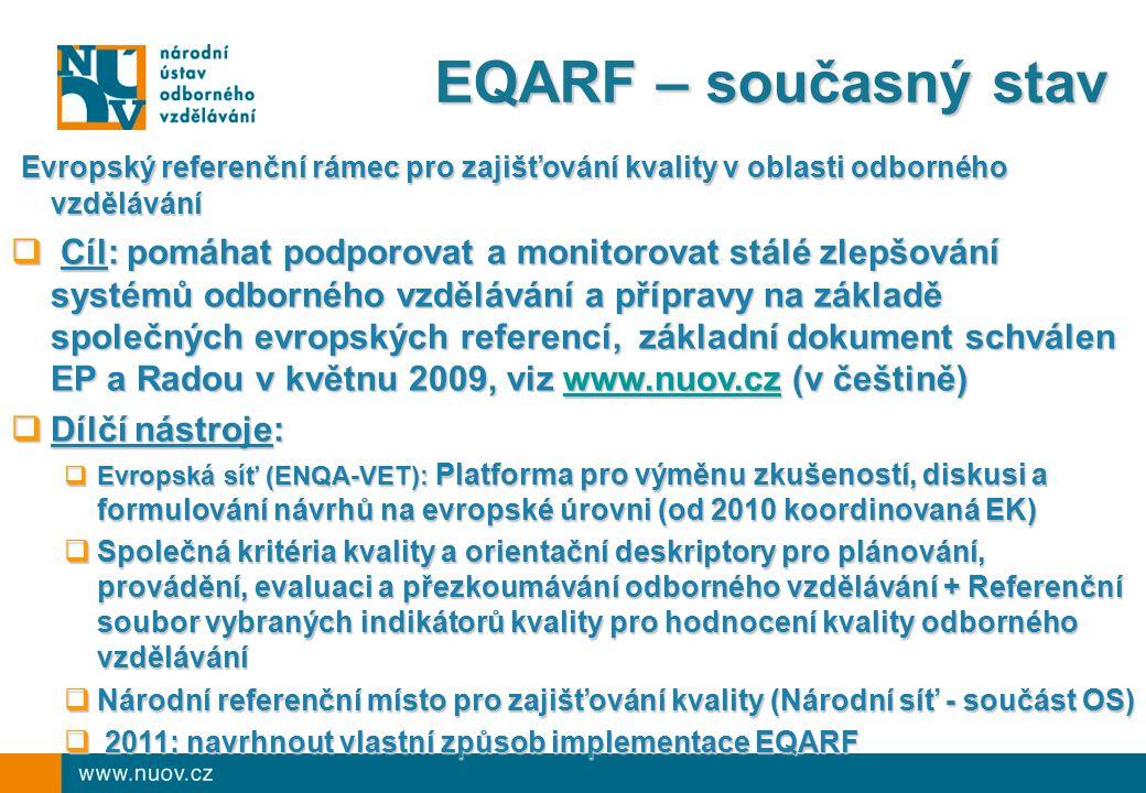 Odborné vzdělávání v ČR - výhled  Hlavní trendy:  Role kvalifikací (NSK) jako můstku mezi trhem práce a odborným vzděláváním  Posilování partnerství (vzdělávání – trh práce) na systémové úrovni i na úrovni škol (poskytovatelů)  Uznávání výsledků předchozího učení  Důraz na kvalitu  Kreditní systém  Posilování role škol v DV  Poslání NÚOV:  Všestranně napomáhat rozvoji odborného vzdělávání