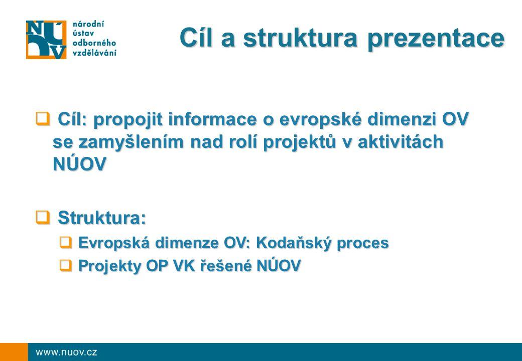 Kodaňský proces Kodaňská deklarace (2002) o posílení evropské spolupráce v odborném vzdělávání:  Stanovení priorit, rozvoj společných evropských nástrojů  Každé 2 roky posouzení dosaženého pokroku a reformulace priorit (Maastricht 2004, Helsinky 2006, Bordeaux 2008)  nyní: Příprava 2010 VET Policy Report (CEDEFOP)  červenec 2010: Sdělení Komise k odbornému vzdělávání  prosinec 2010: Brugy