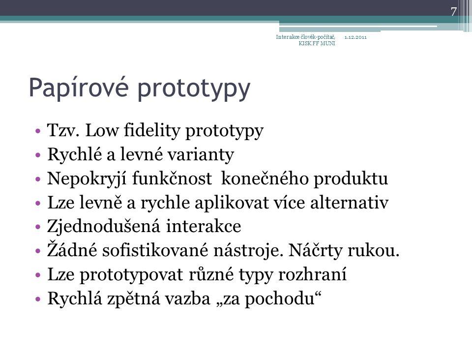 Papírové prototypy Tzv.