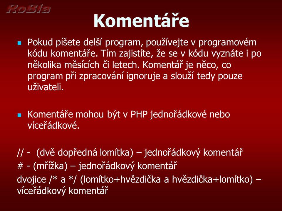 Komentáře Pokud píšete delší program, používejte v programovém kódu komentáře. Tím zajistíte, že se v kódu vyznáte i po několika měsících či letech. K