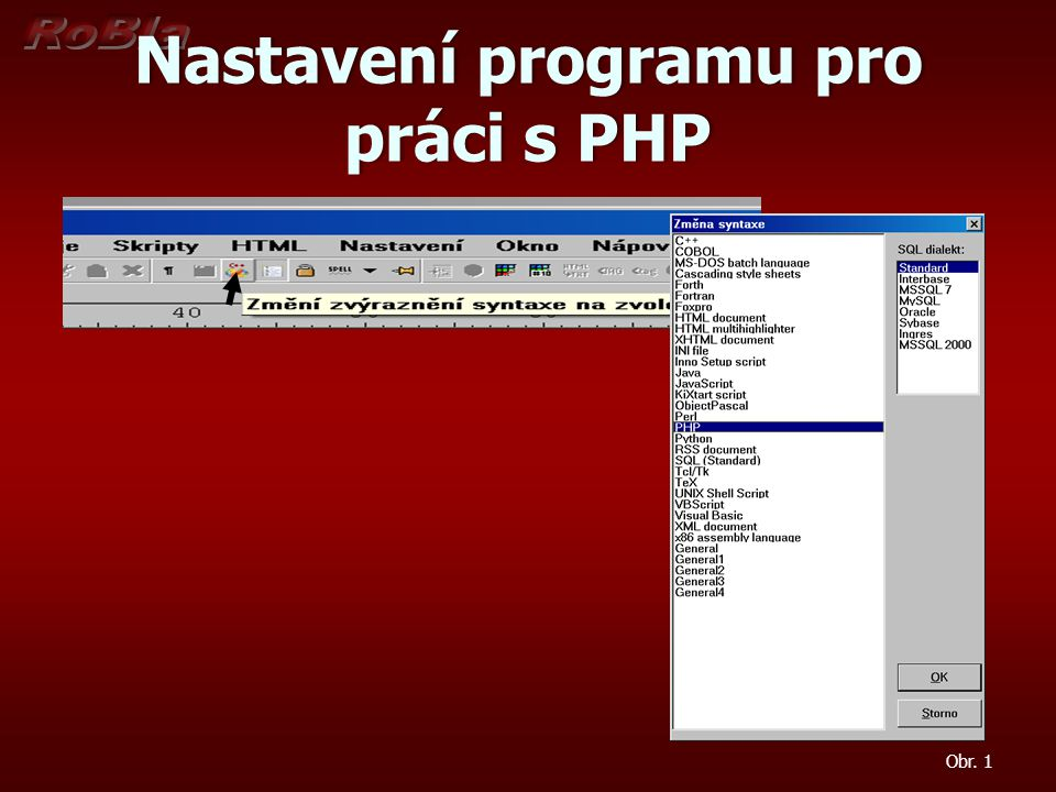 Nastavení programu pro práci s PHP Obr. 1