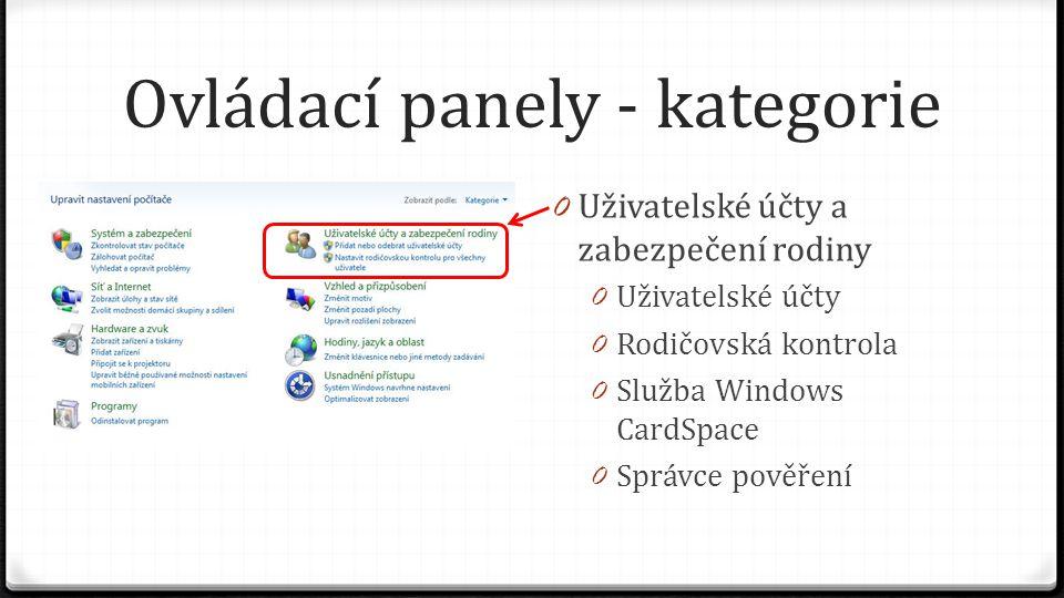 Ovládací panely - kategorie 0 Uživatelské účty a zabezpečení rodiny 0 Uživatelské účty 0 Rodičovská kontrola 0 Služba Windows CardSpace 0 Správce pově